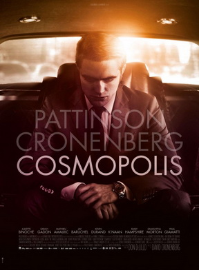 Poster for Cosmopolis, depicting Robert Pattinson in the back of a Maybach, leaning over introspectively