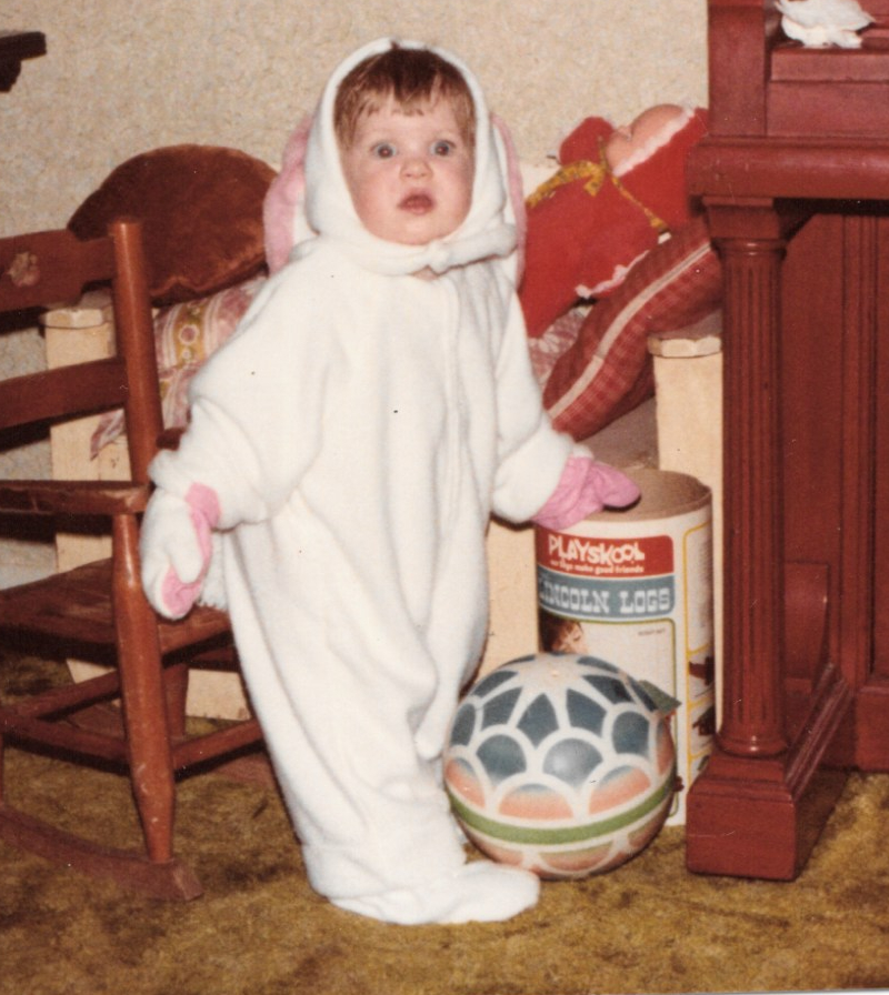 Me, as a toddler, looking panicked in a bunny suit.