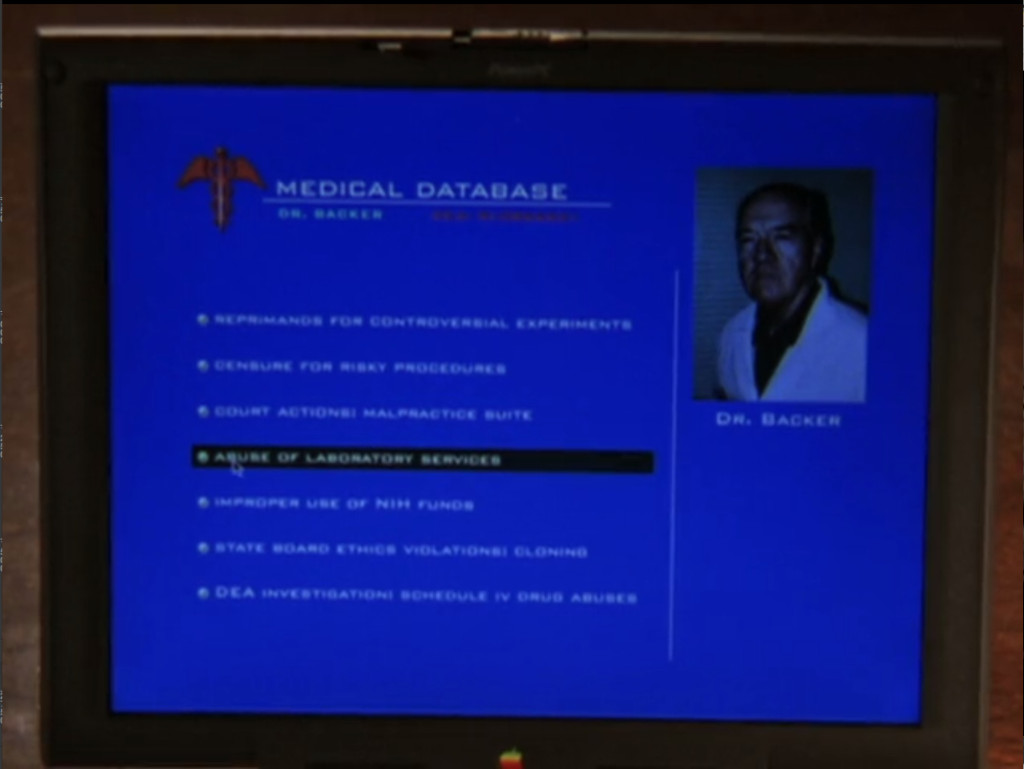 Willow's laptop screen, displaying Dr. Backer's records, which I will detail below.