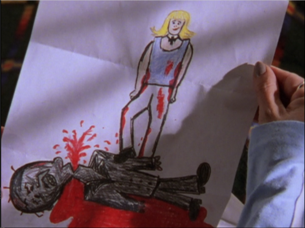 A crayon drawing of Buffy standing above the half-decapitated corpse of der Kindestod