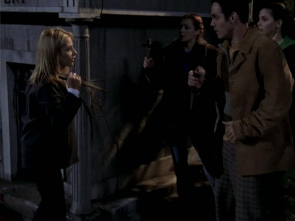Buffy startling Willow, Xander, and Cordelia