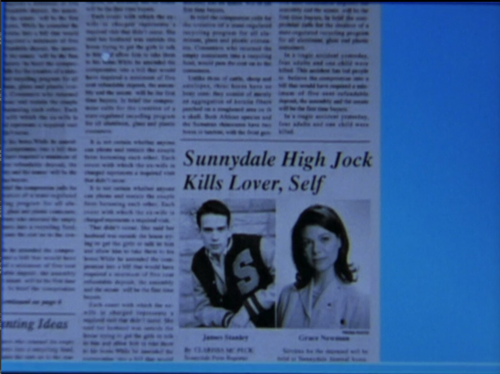 "Newspaper clipping with the headline: ""Sunnydale High Jock Kills Lover, Self."" It's printed in a side column of the paper."
