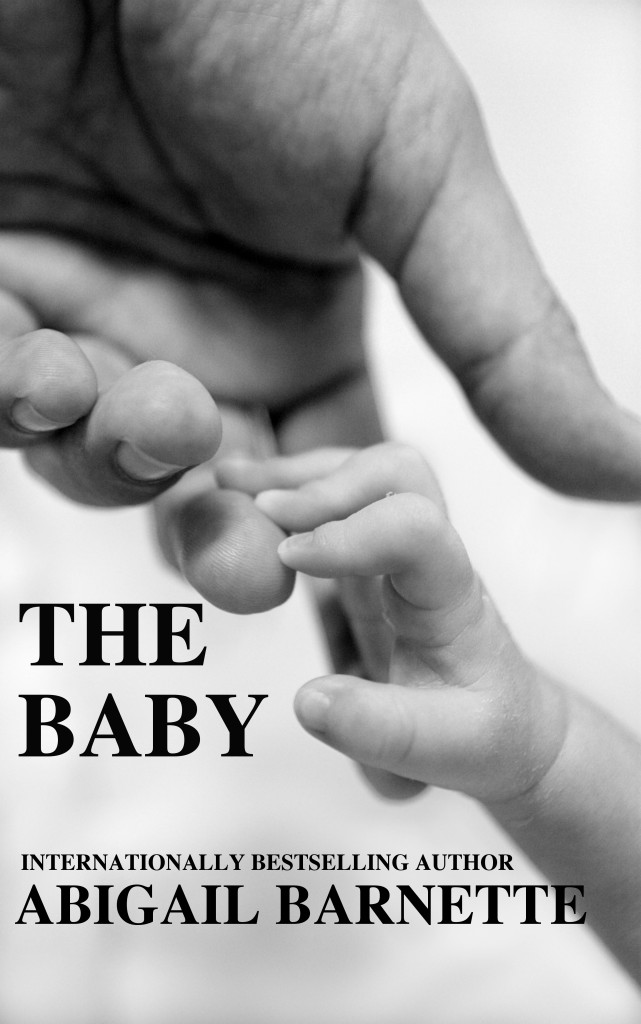 The cover of The Baby, on which a baby grasps a man's finger.