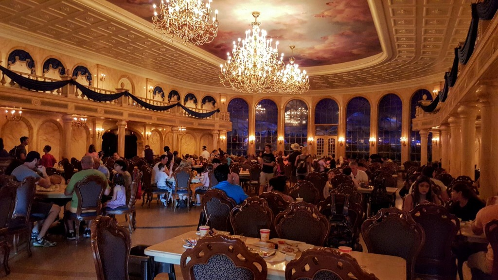 The main dining room of Be Our Guest, a replica of the grand ballroom in the film