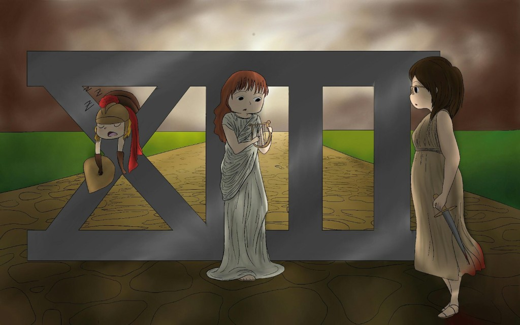 A picture of a big roman number XIII, in front of an ominous sky, in the middle of a road through a field. In the crotch of the X, I, dressed as a centurion, naturally, am slumped over, sleeping. Bronwyn Green, dressed in a stola, is looking nervously at a harp, and Jess is depicted as the woman with a bloody knife from the DVD cover of season 2.