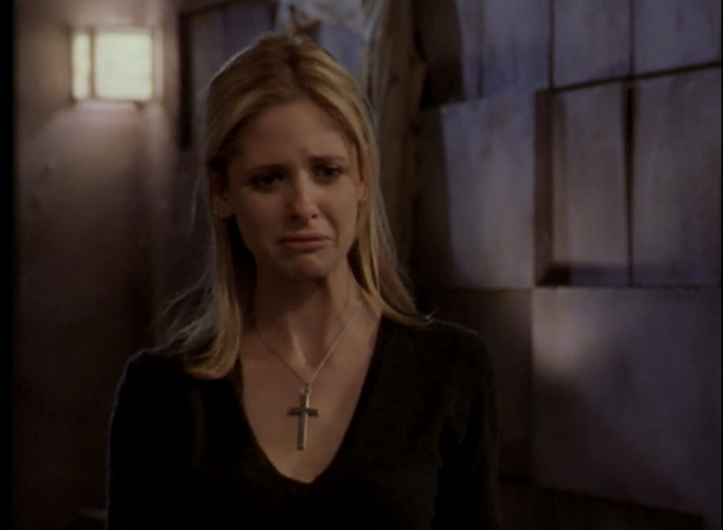 Buffy crying. And it's not like, a big dramatic cry, just a face-crumpling slow burner that looks super sad.