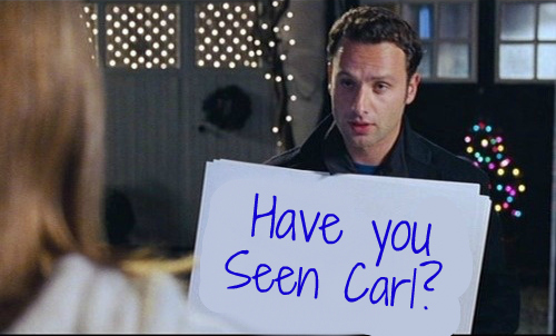 "Andrew Lincoln in Love, Actually, holding up a sign for Kiera Knightly, but the sign has been changed from ""to me you are perfect"" to ""have you seen Carl?""."