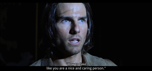 "Tom Cruise in a scene from the movie Magnolia, with the quote ""how to fake like you are a nice and caring person""."