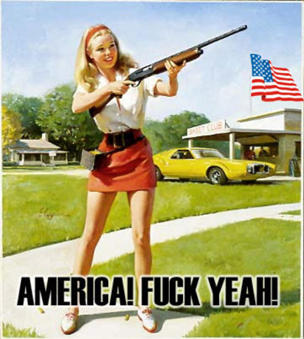 "1950's ""Dick and Jane"" style illustration of a blonde teenage girl brandishing a shotgun."