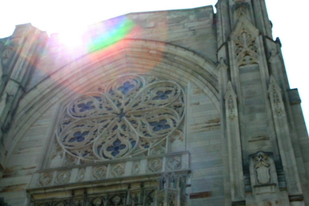 An upward angled-shot of First Presbyterian, a gothic cathedral with a rose window.