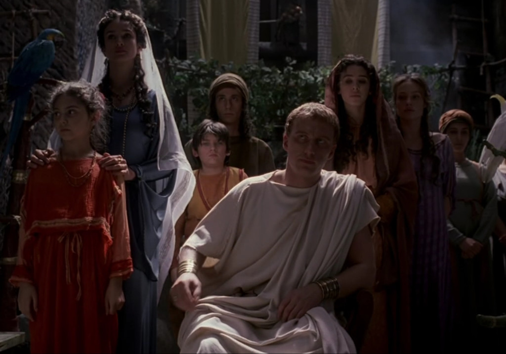 The Vorenus family has pulled out all the stops. Everyone is in a different, bright color, and they're all wearing much nicer clothes than when the series started out.