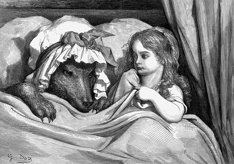 An engraving of Little Red Riding Hood in bed with the wolf dressed as her grandmother