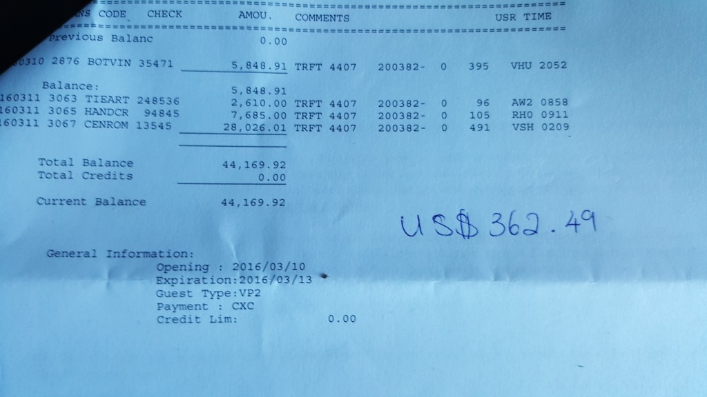 Photo of a hotel bill listing over $44,000 worth of charges, with US$ 362.49 written beside it.