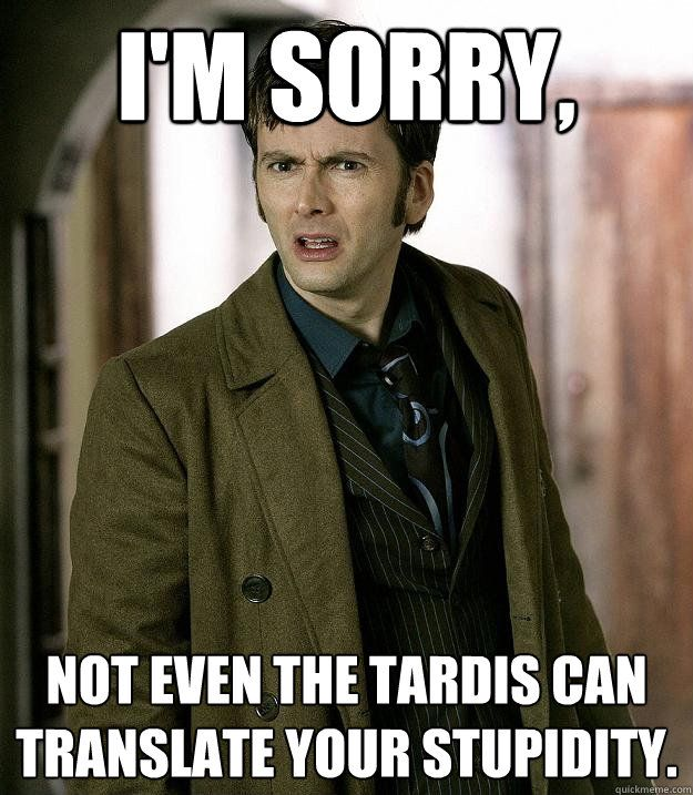 "A photo of the 10th Doctor, with the words, ""I'm sorry, not even the TARDIS can translate your stupidity"""
