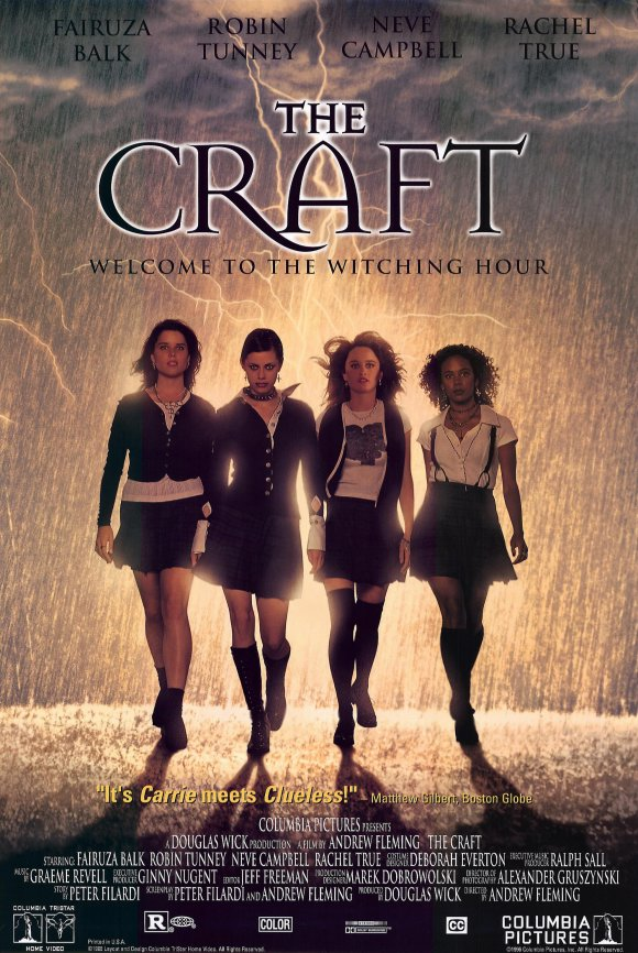 The Craft movie poster, with four goth girls in Catholic school skirts walking in front of lightning.