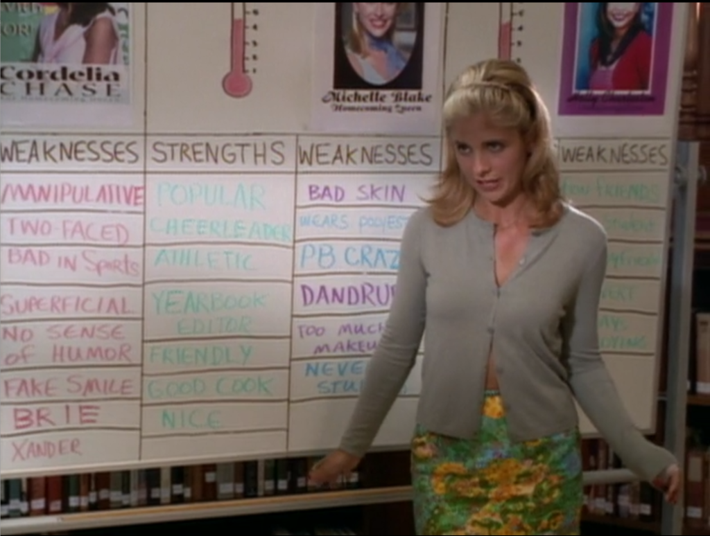 Buffy stands in front of her white board, which lists the strengths and weaknesses of each girl competing for homecoming queen.