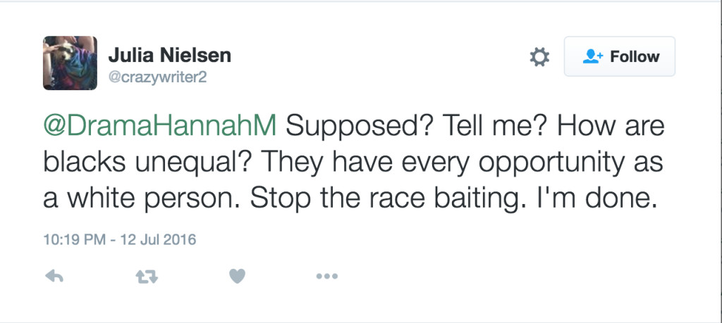 "Nielsen tweets: ""Supposed? Tell me? How are blacks unequal? They have every opportunity as a white person. Stop the race baiting. I'm done."""