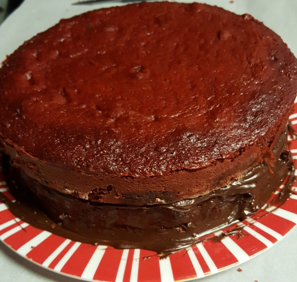 Two cakes stacked on top of each other. The bottom is frosted in chocolate frosting, the top is unfrosted.