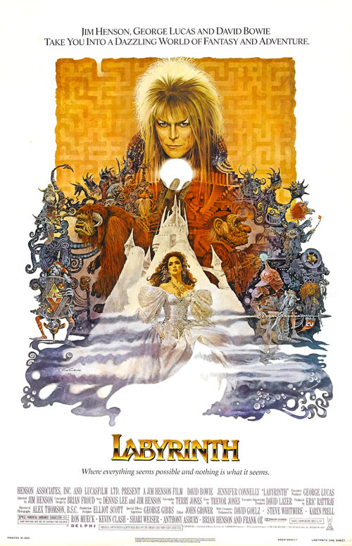 The original movie poster for Labyrinth, featuring an illustration of David Bowie as the Goblin King looming over a menagerie of various goblins and creatures, with Jennifer Connelly as Sarah in her ball gown from the fantasy ball room sequence, fleeing the castle in a mist.