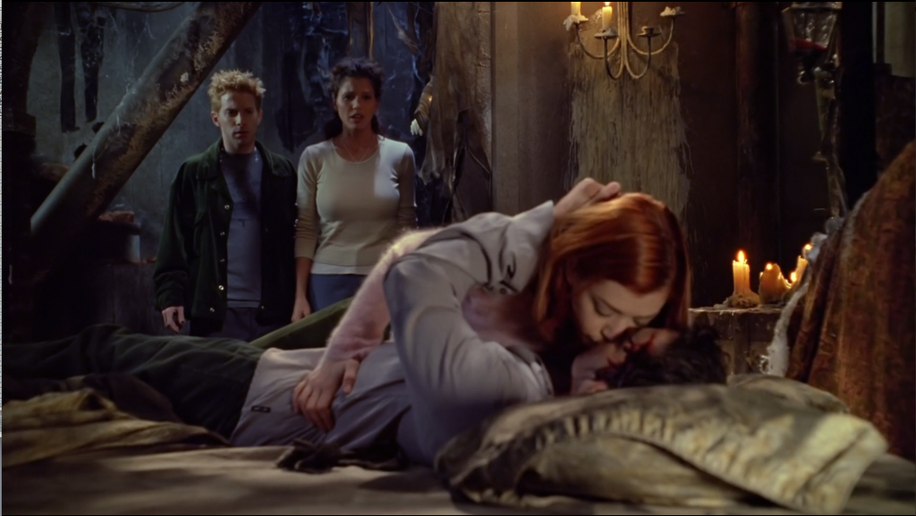 Willow is like, on top of Xander, they're kissing, and Oz and Cordelia are standing there looking hurt and horrified.