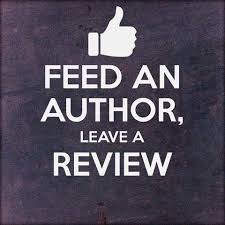 "A thumbs up graphic with ""Feed an author, leave a review""."