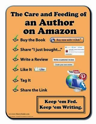 "Graphic says: ""The care and feeding of an author on Amazon. Buy the book. Share ""I just bought..."" Write a review. Like it. Tag it. Share the link. Keep 'em fed. Keep 'em writing."" with various graphics from Amazon, Facebook, Youtube, etc."