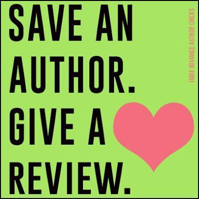 "Graphic reads: Save An Author. Give A Review"" with a heart beside it."
