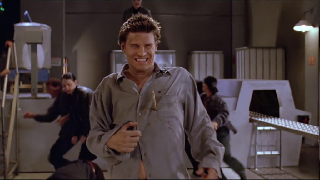 Angel has a piece of wood sticking out of his chest, and he's grimacing, but I timed the screenshot poorly/awesomely and it looks like he's grinning and giving a thumbs up over the fact that he's about to die.