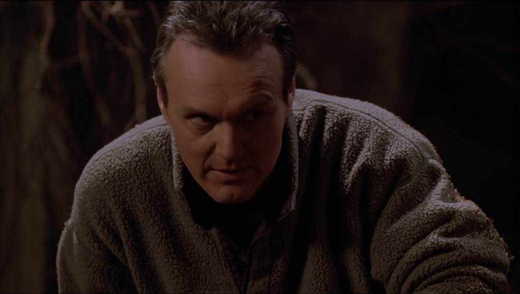 Giles has ditched his glasses and his tweed, and he's wearing a pilled-up fleece jacket.
