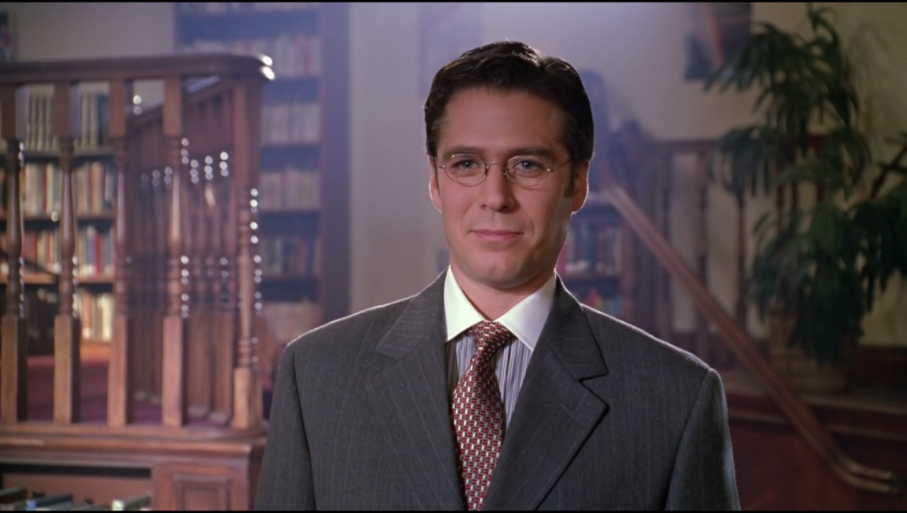 Wesley looks smug and is somehow dressed even more conservatively than Giles was in season one.