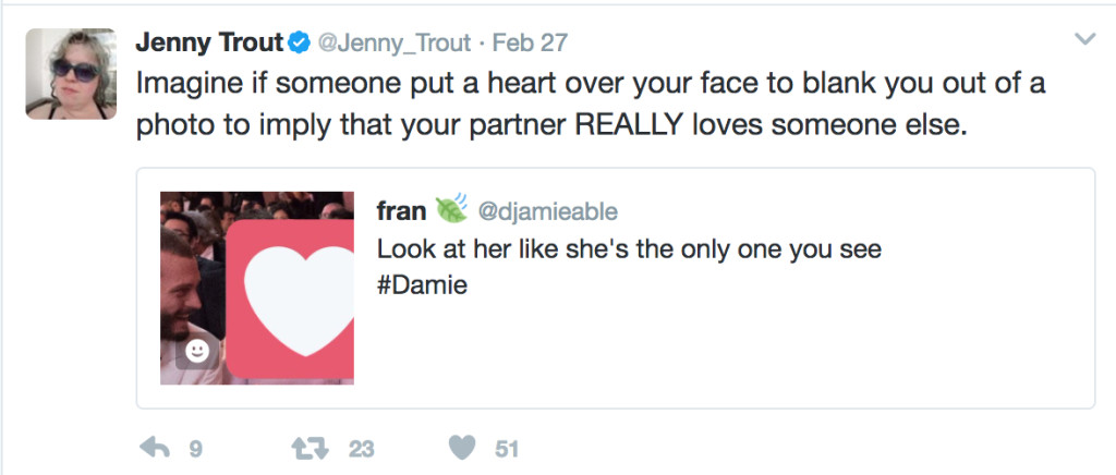 "I quoted Fran's tweet and added, ""Imagine if someone put a heart over your face to blank you out of a photo to imply that your partner REALLY loves someone else."