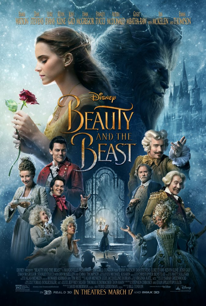 The movie poster for the 2017 version of Disney's Beauty and The Beast, which features the main characters at the top and the ensemble assembled around a smaller picture of Belle and The Beast dancing.