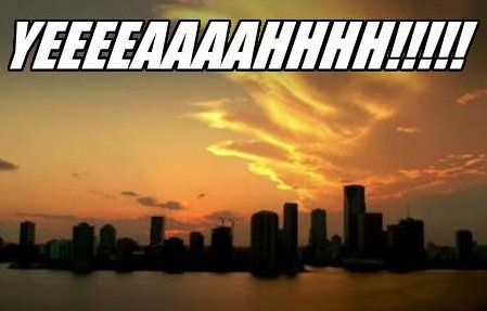 "The opening title screen from CSI: Miami (picturing the Miami skyline at sunset), with ""YEEEEEEAAAAAHHHHHH!"" over it in big white block letters."