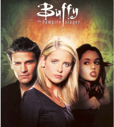 The season 3 DVD cover, which features Buffy flanked by Angel and Faith (who is brandishing a stake) against a green and gold background.