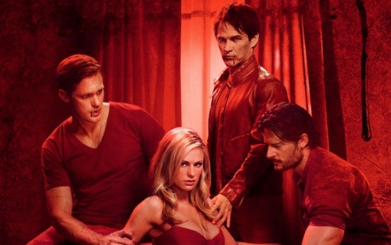A promotional image from True Blood season 4; Sookie is flanked by Eric and Alcide, while Bill stands behind her. The whole picture is in red tones.