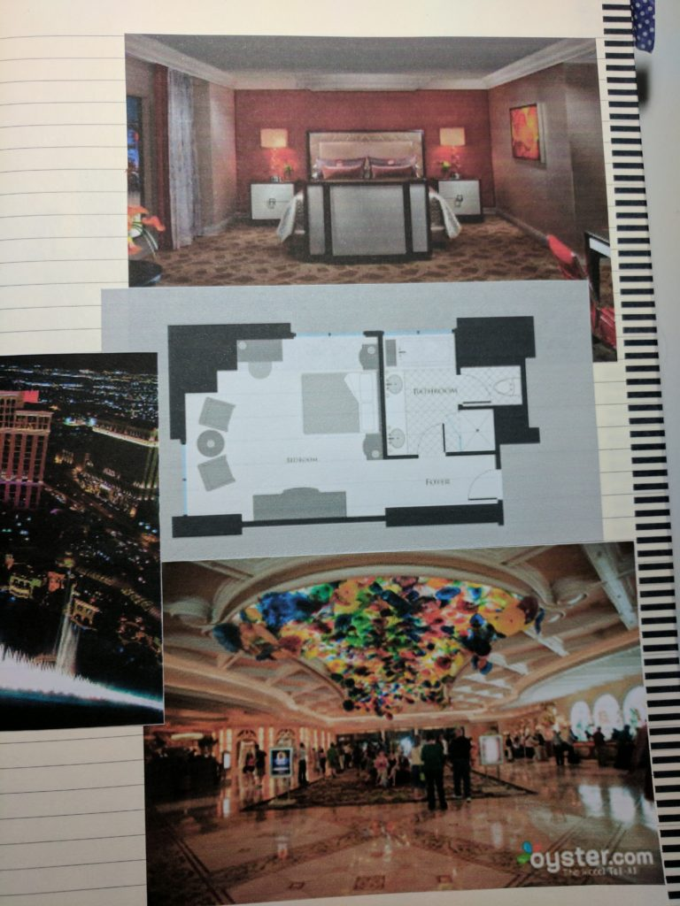 A page with photos of various locations in the Bellagio hotel in Las Vegas, including a floor plan of a suite.
