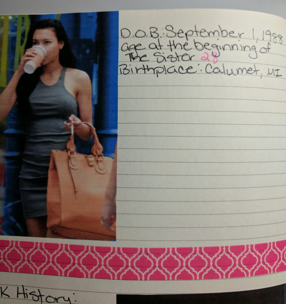 A page with a picture of Naya Rivera drinking coffee and carrying a big purse, beside details about Sophie.