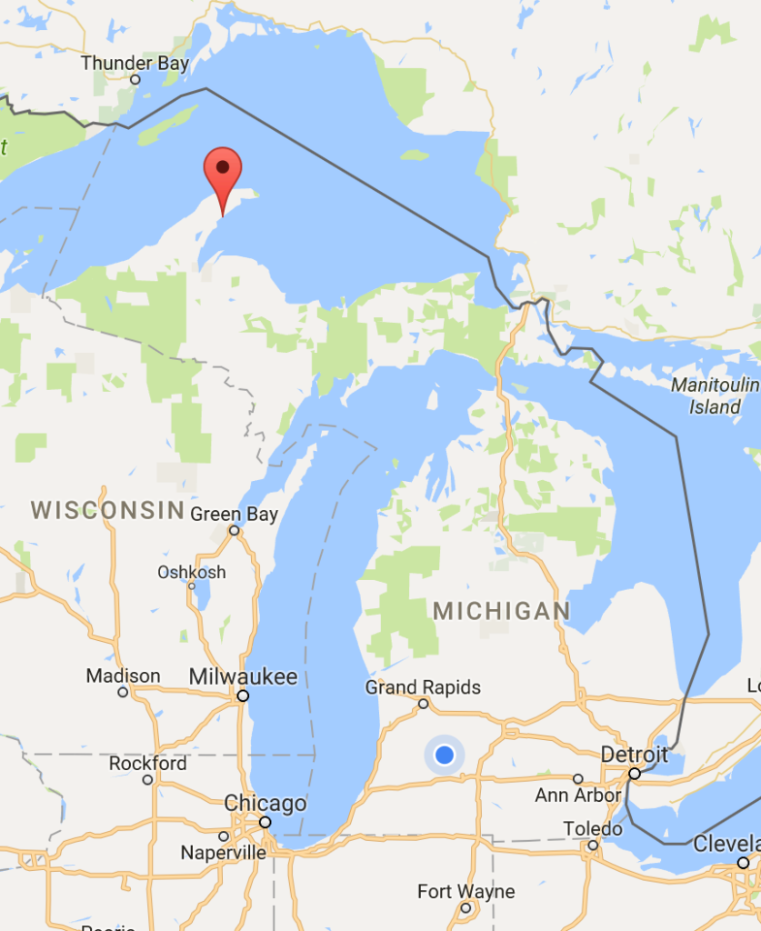 "a google map of Michigan with Gay marked with a little round divot thing. Gay is located in Michigan's Keweenaw peninsula, the northern-most ""fin"" of Michigan's land-mass."