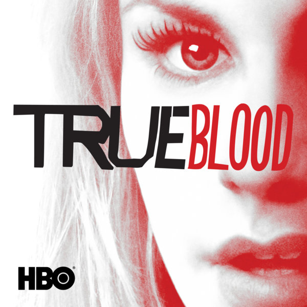 True Blood season 5 DVD cover, with Sookie's face in red and white and True Blood across it in capital letters.