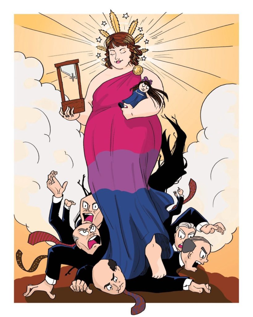 A drawing in comic style of me as a goddess, bedecked in a tunic with the colors of the bisexual flag, a crown of stars and golden marijuana, holding my American Girl doll Samantha in one hand and a guillotine in the other as I stand atop a pile of screaming white men in business suits.