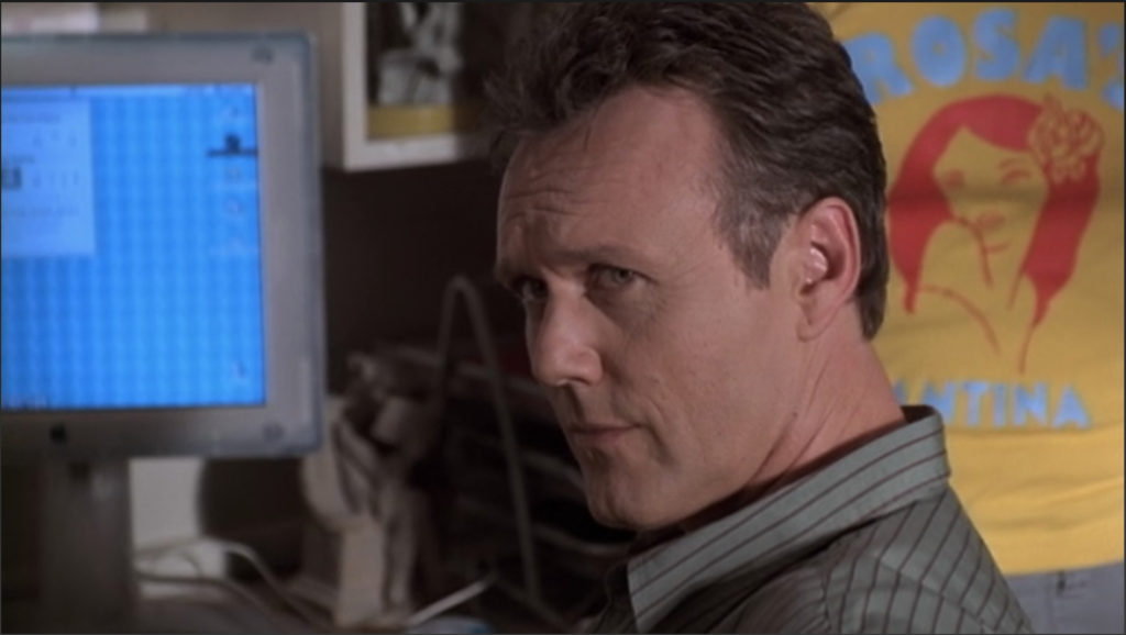 "Giles is looking at Buffy with an expression that says plainly ""I do not believe a word you are saying an you are digging your own grave at this point."""