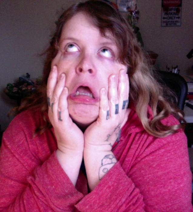 """Me, stetching my face out in an expression of horror not unlike that of Edvard Munch's """"The Cry""""."""
