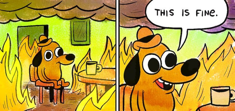 "The ""This Is Fine"" dog cartoon, in which a dog is depicted sitting at a table with a cup of coffee as fire and smoke rage around him. A second panel is a closeup of his smiling face as he says, ""This is fine."""