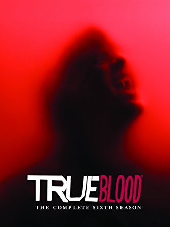 The season six DVD cover, which is a dark image of Bill screaming or baring his fangs, I guess? It's kind of murky and blurry. The background is red.