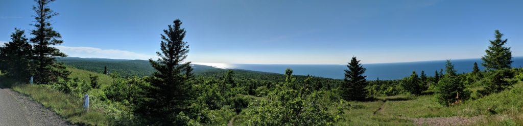 A gorgeous panoramic shot of Lake Superior from the top of Brockway Mountain.