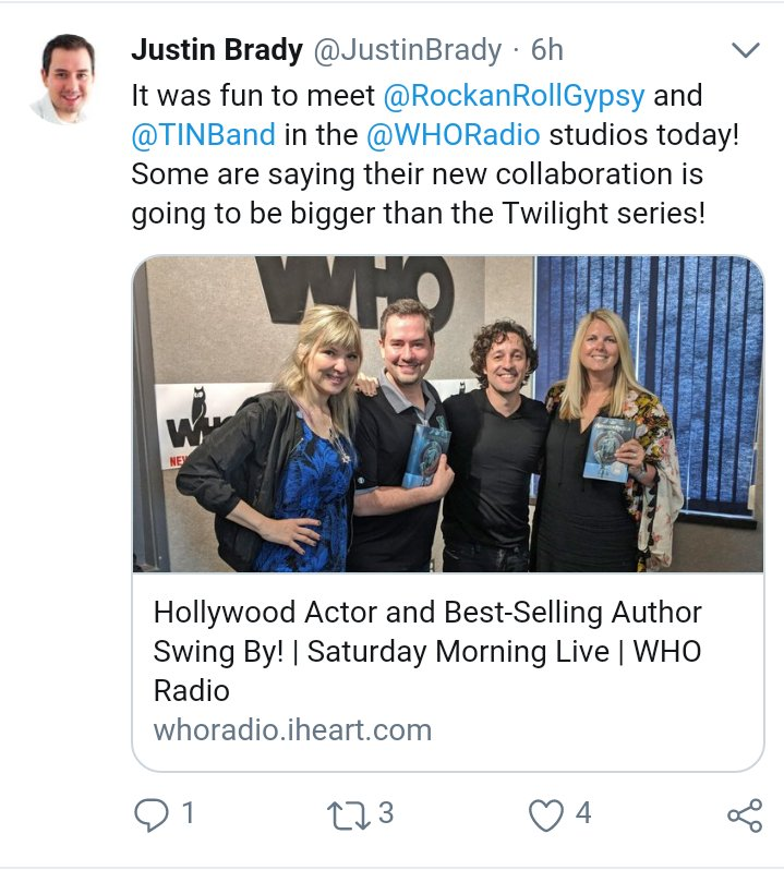 "A tweet from @JustinBrady that reads, ""It was fun to meet @RockanRollGypsy and @TINband in the @WHORadio studios today! Some are saying their new collaboration is going to be bigger than the Twilight series!"" followed by a link to a radio interview and a photo of Sarem and Nicholas with the WHO Radio DJs."