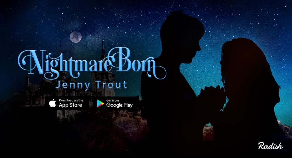 The cover for Nightmare Born shows the silhouette of two teens facing each other, holding hands in front of a night sky. There's a scary dracula-looking castle on a hill in the background and a full moon in the clouds. The title and two logos for the Google Play and Apple App store show beneath my name.