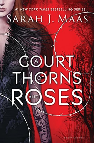 The cover of ACOTAR features a red back ground with a thorny silver vine winding through the foreground. To the left, a girl is half-cut off the edge of the image. She's wearing a black gown with feather and lace embellishments.