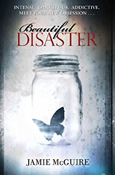 The cover of Beautiful Disaster features a dirty-looking gray background and the image of a butterfly in a jar.