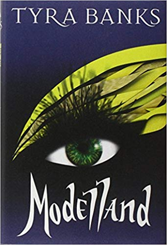 The cover of Modelland by Tyra Banks features a single, illustrated eye with lots of yellow feathers sprouting above it like eyeshadow.